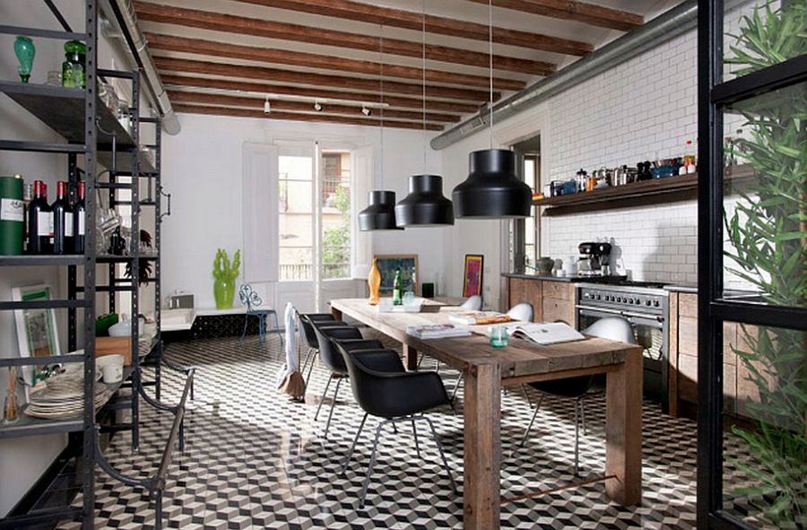 Kitchen and dining space neatly rolled into one [Design: Egue y seta Architects]