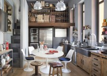 Kitchen with wine storage and pantry above