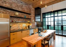 Large industrial styled windows add to the appeal of this elegant kitchen [Design: Crescent Builds]