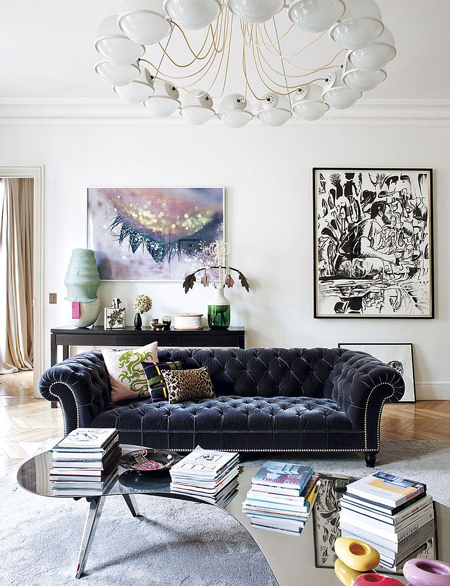large plush couch becomes the focal point in the refined living room