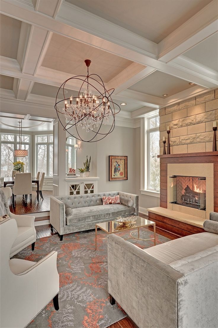 Add personality to your interior with a coffered ceiling for Living room lighting designs