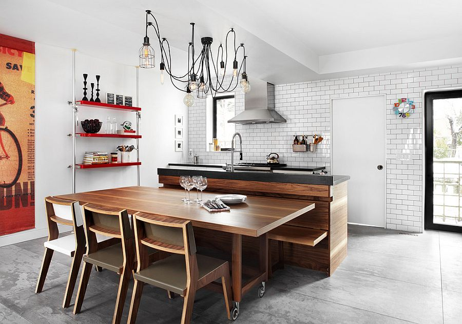 Lighting that adds to the industrial style of the kitchen [Design: Palmerston Design Consultants / Photography: Lisa Petrole]