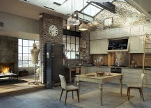 Loft-inspired kitchen with vintage design elements [From: Serafien De Rijckedreef]