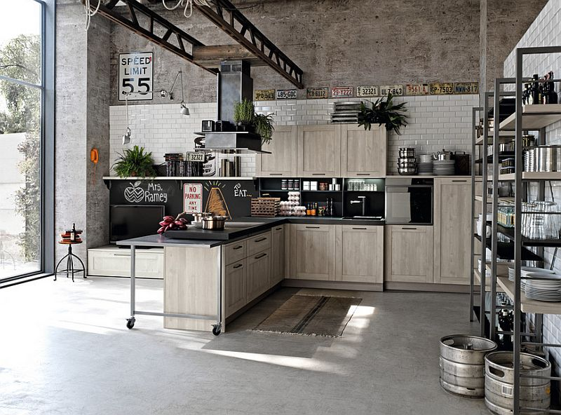 loft styled home with a large kitchen that complements its aura design stosa - Industrial Kitchen