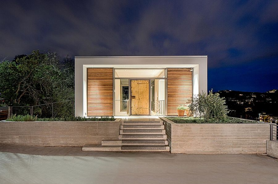 Lovely rooftop entry to the Cliff Residence next to Lake Austin