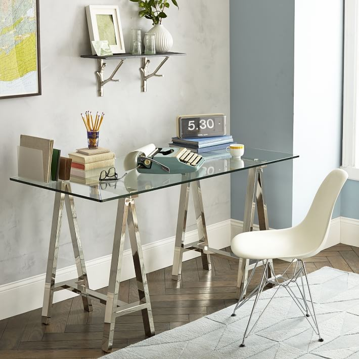 15 Home Offices Featuring Trestle Tables as Desks : Metal and glass trestle desk from West Elm from www.decoist.com size 710 x 710 jpeg 94kB