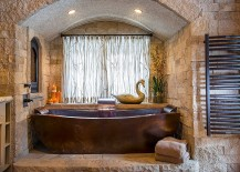 Metal and stone bring a serene spa-style to the bathroom [Design: Diamond Spas]