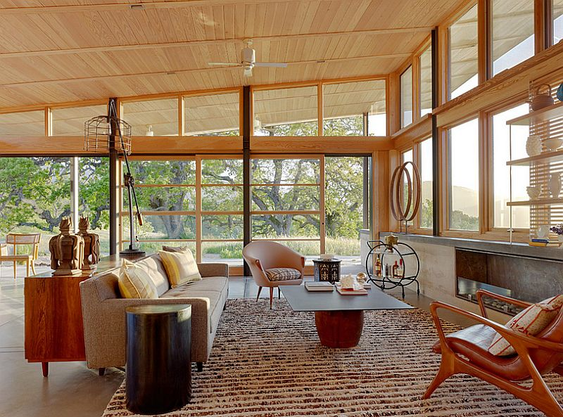 Mid-century ranch style meets Scandinavian beauty inside this spacious living room [Design: Jeffers Design Group]