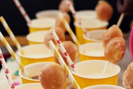 Milk with donut stirrers from A Beautiful Mess  Summer Party Ideas for a Festive Season Milk with donut stirrers from A Beautiful Mess