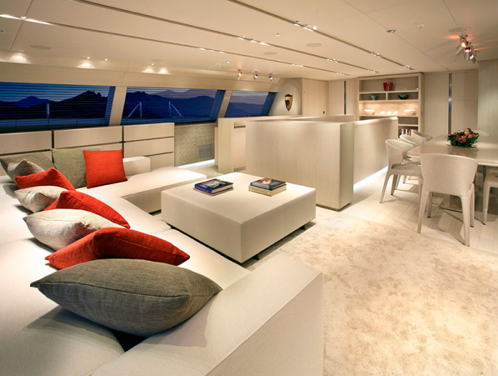 Living room of the yacht with minimal decor