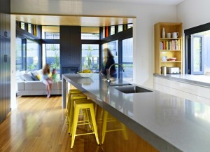 Modern, polished concrete kitchen worktop