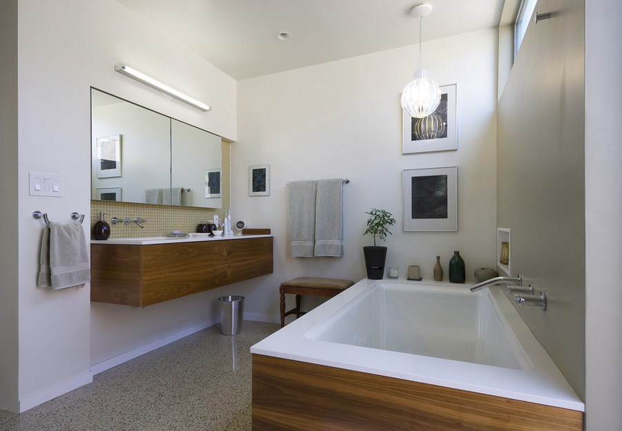 Modern bathroom with seamless terrazzo tile