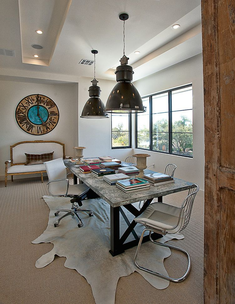 Modern home office with large industrial lights [Design: Cornerstone Architects]