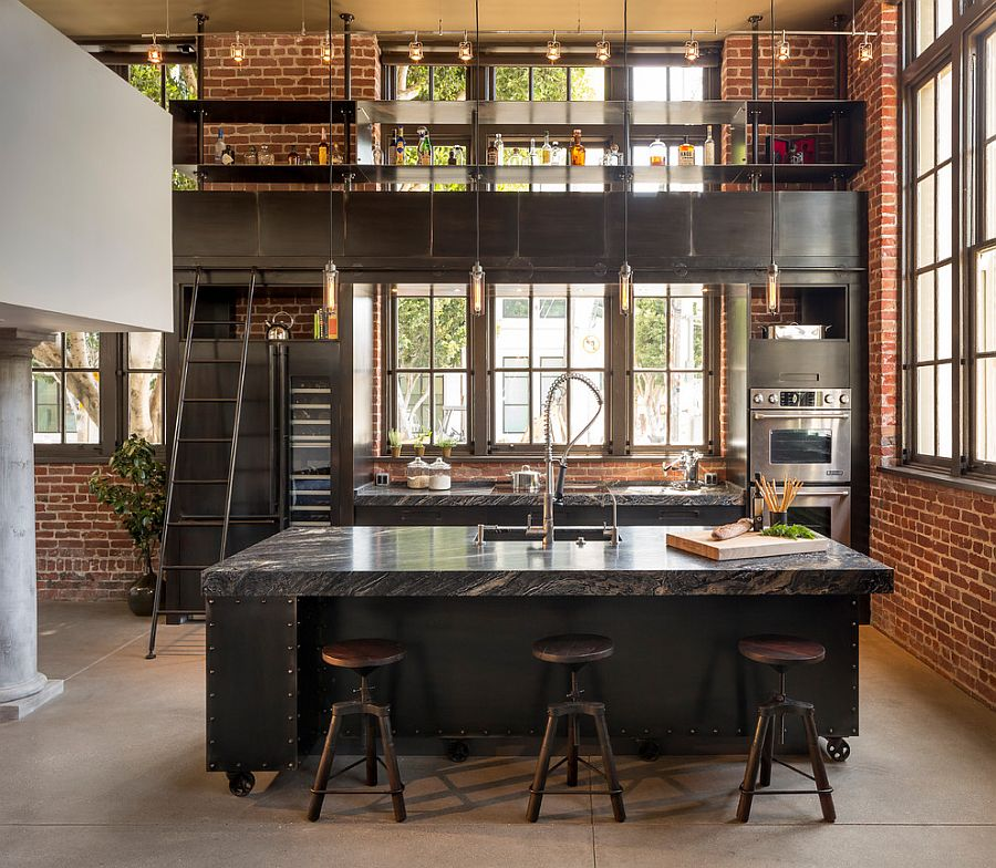 Modern industrial style combines aesthetics with ergonomics [Design: Muratore Construction + Design]