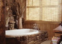 Moss rock around the bathtub makes a cool style statement [Design: Greenauer Design Group]