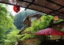Mountains overhead at Hirobun restaurant