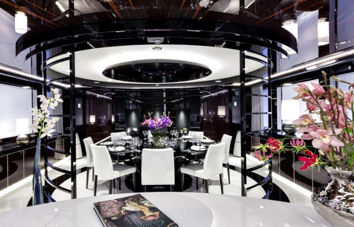 Formal dining area inside the affluent yacht