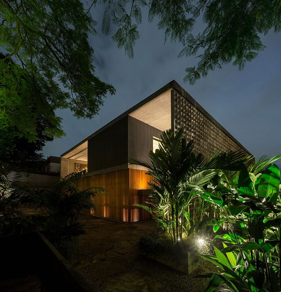 Natural greenery around the house adds to the elegance of the private Sao Paulo home