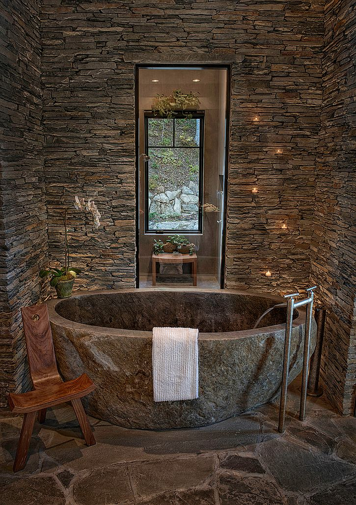 Natural ledge stone backdrop with lovely lighting [Design: In Site Designs]