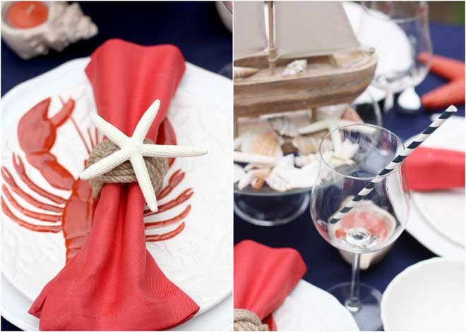 Nautical Red white and blue table