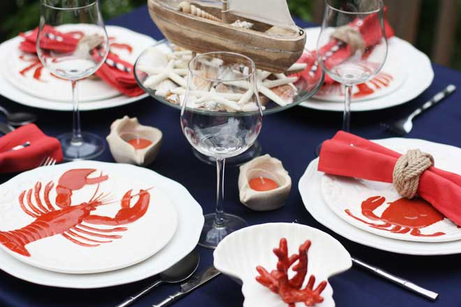 Nautical Table with Lobster and Coral