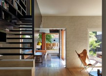 Open plan lower level of the Melbourne home