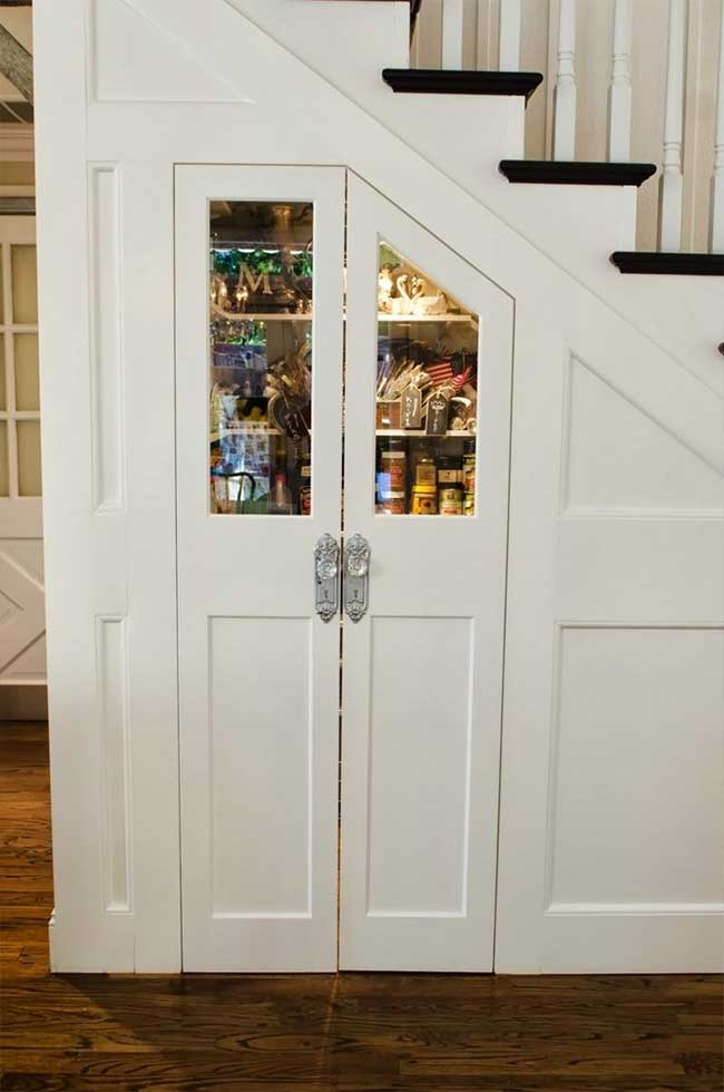 Organized Pantry Under the Stairs