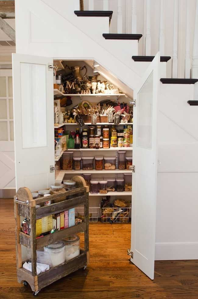 Organized Under Stair Pantry