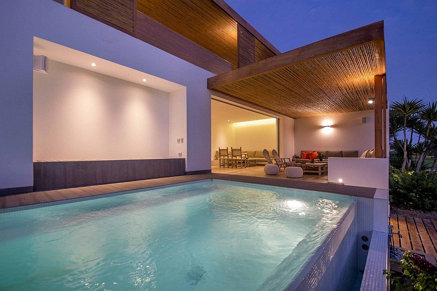 Oudoor lounge and pool area of the revamped home in Peru