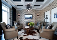 Painted coffered ceiling in a modern living room