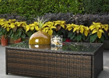 Palm Collection Wicker and Glass Table
