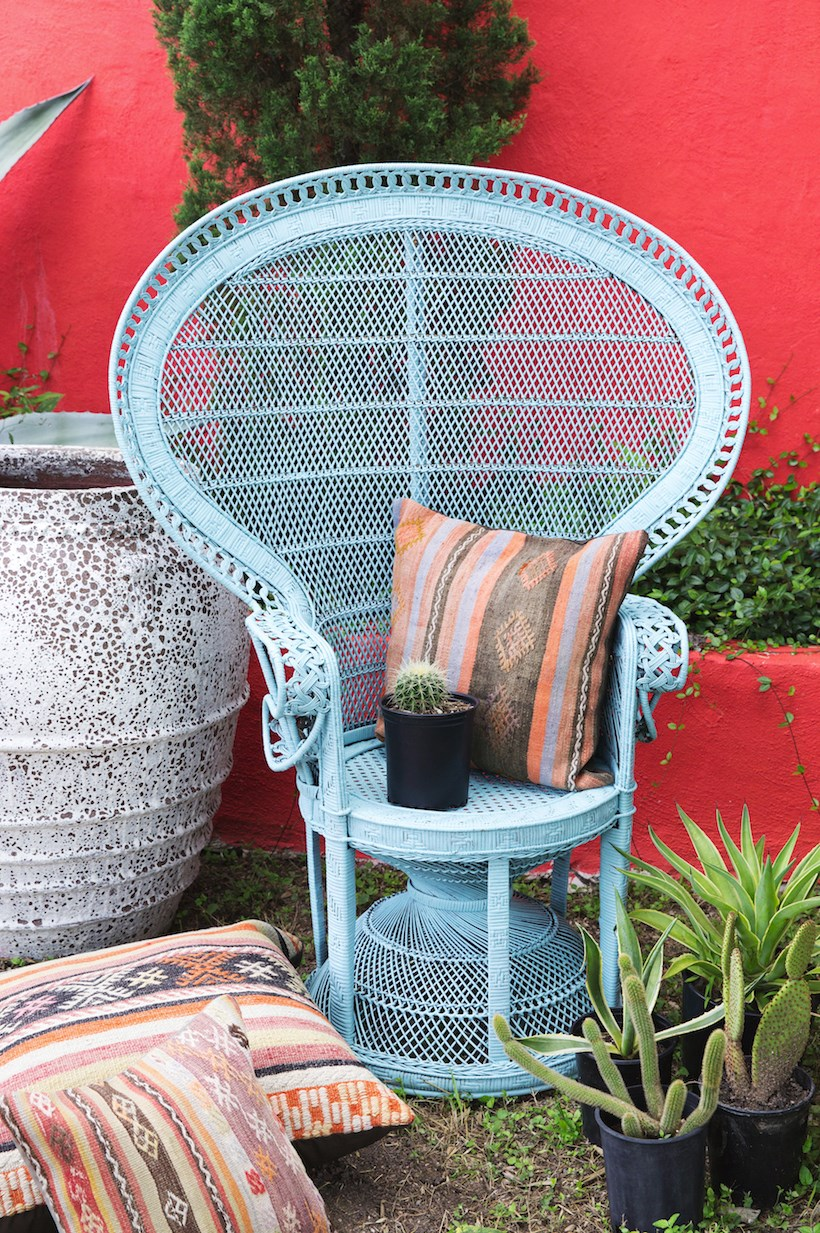 Peacock chair makeover from Camille Styles