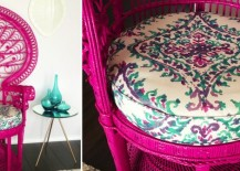 Peacock chair makeover from Preciously Me