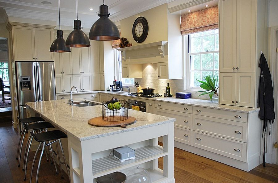 Pendant lights bring a hint of black to the kitchen [Design: The Kitchen Broker]