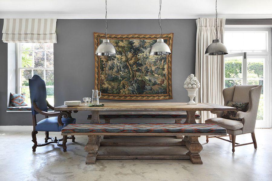 Pendant lights bring metallic beauty to the farmhouse dining [Design: VSP Interiors]