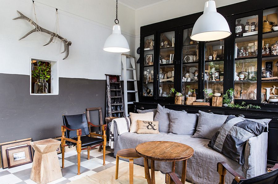 Pendant lights in white blend in with the color scheme of the living room [From: Nikki To Photography]