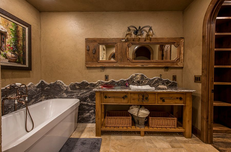 Plastered walls bring rustic magic to the charming bathroom [Design: Cabinet Concepts by Design]
