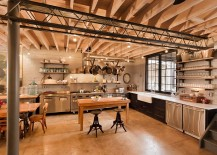 Pot rack is perfect for the industrial kitchen [Design: Bennett Frank McCarthy Architects]