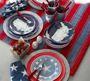 Pottery Barn Red White and Blue Tablescape with Star plates