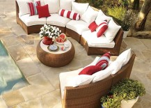 Pottery Barn honey wicker sectional 217x155 Wonderful Wicker Pieces for Upgraded Outdoor Entertaining