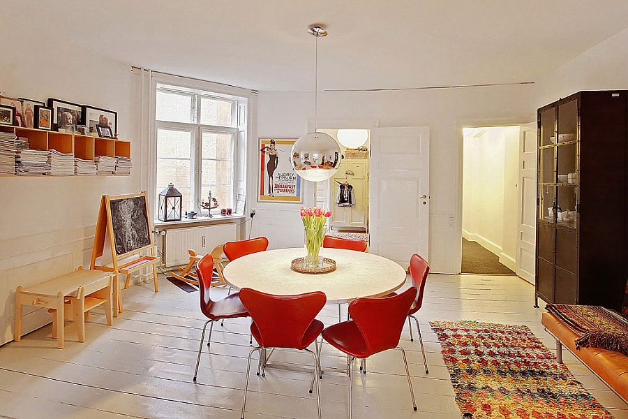 Put the space in the dining space to use with smart shelves and cabinets