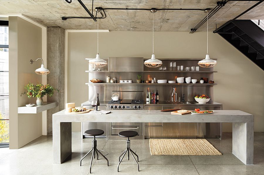Raw concrete kitchen island for the industrial space [Design: Colorhouse Paint]