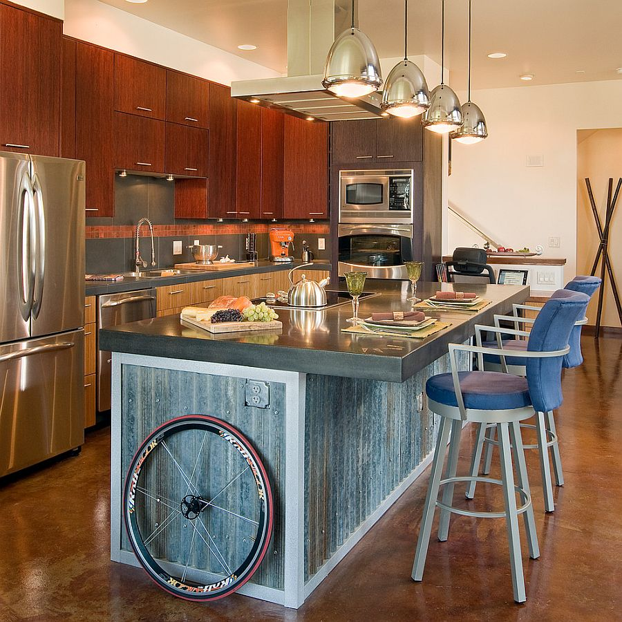 Reclaimed corrugated siding used to shape the kitchen island [Design: Fieldwork Architecture]