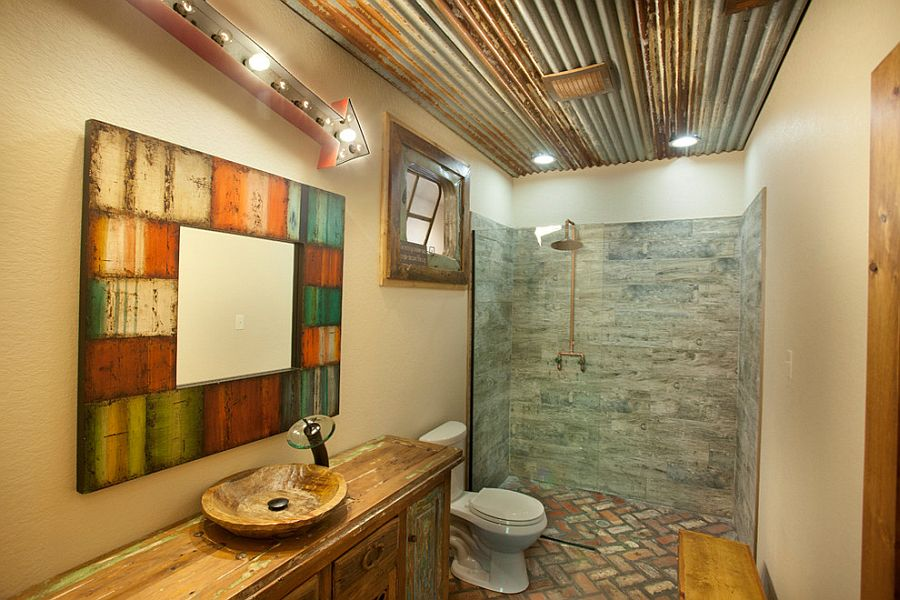 reclaimed materials find a cozy new home in the rustic bathroom