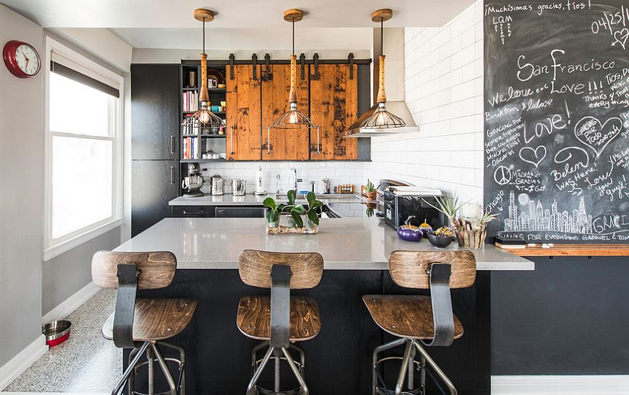 Reclaimed wood, bar stools, lighting and chalkboard paint give the kitchen great textural contrast