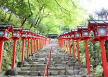 Red Lanterns Line the Walkway Up to Kifune Shrine