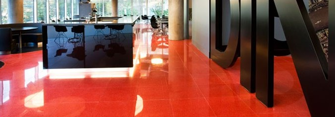 Red terrazzo floor at Blue Finn Cafe