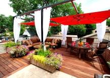 Red umbrella patio