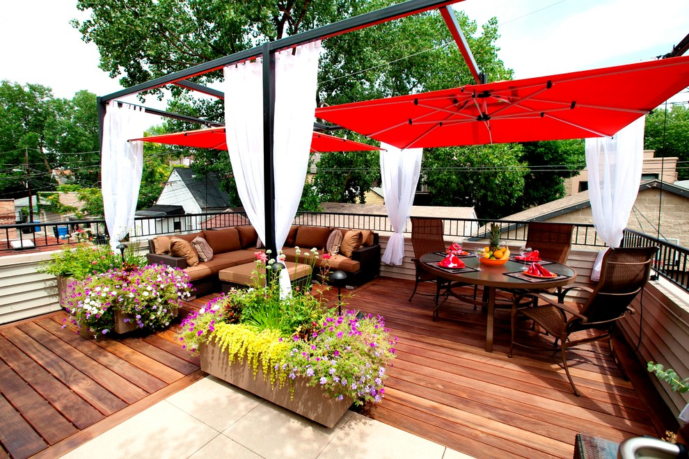 Red umbrella patio