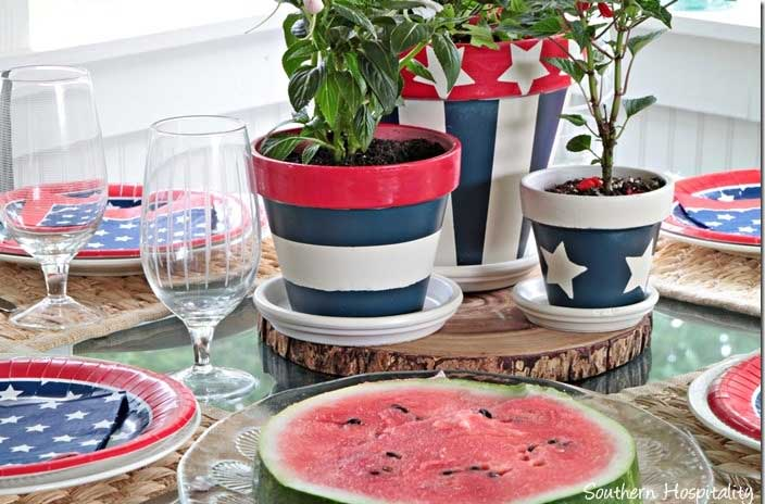 Red white and blue clay pot centerpiece